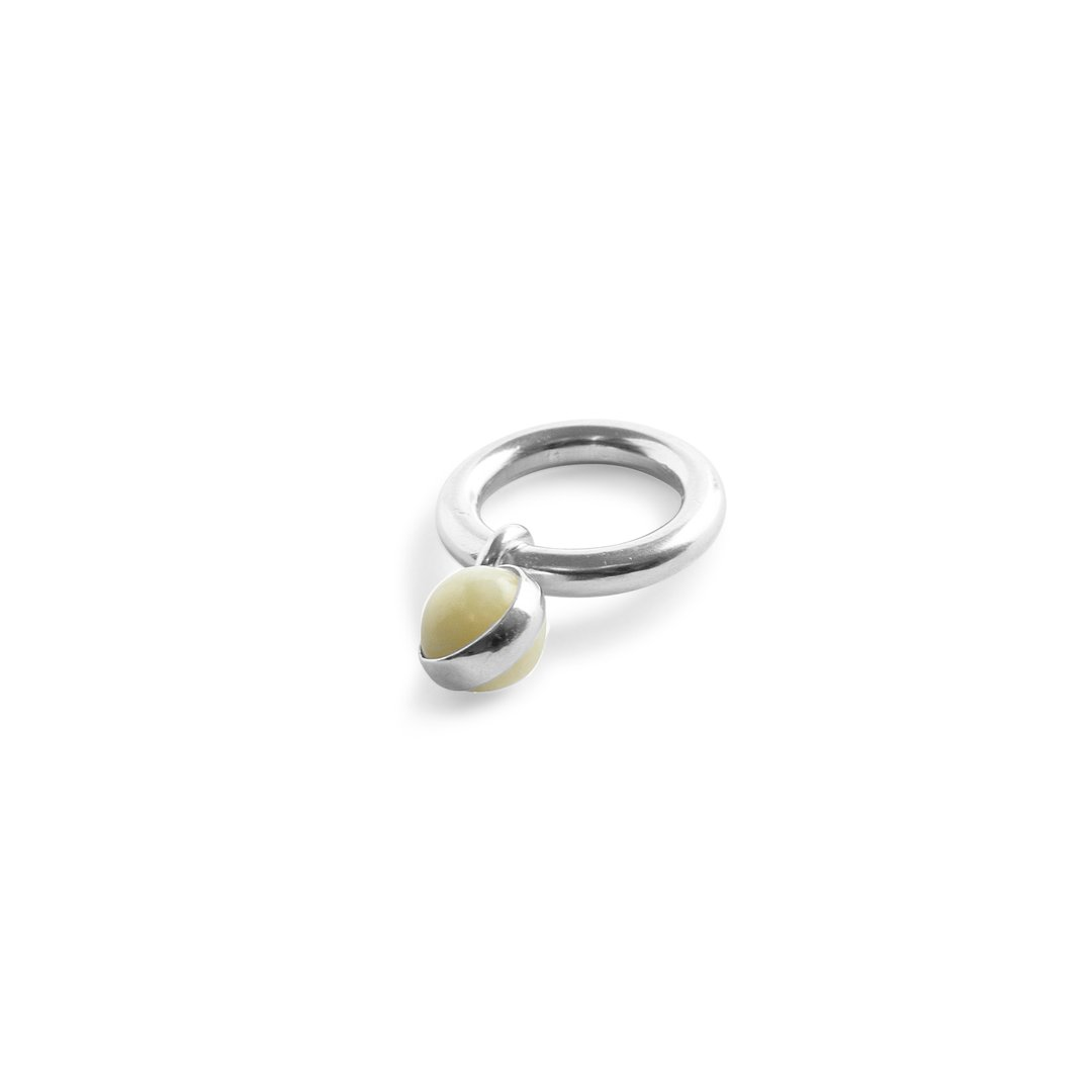 Bold Drop Ring Jade Silver