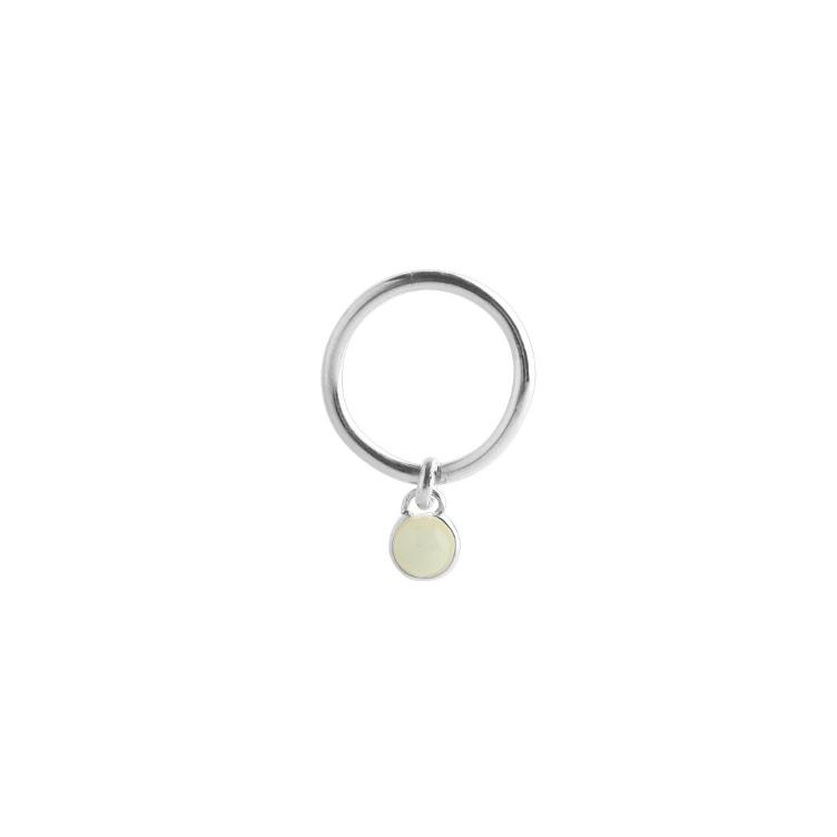 Small Drop Ring Jade Silver