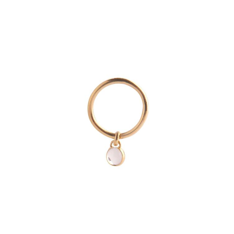 Small Drop Ring Quartz Gold